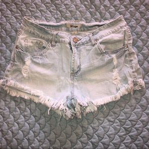 Light-wash Distressed Shorts